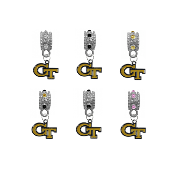 Georgia Tech Yellow Jackets NCAA Crystal Rhinestone European Bracelet Charm