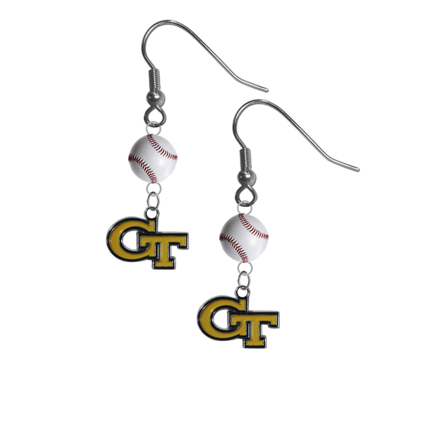 Georgia Tech Yellow Jackets NCAA Baseball Dangle Earrings