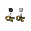 Georgia Tech Yellow Jackets BLACK & CLEAR Swarovski Crystal Stud Rhinestone Earrings
