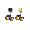 Georgia Tech Yellow Jackets BLACK & GOLD Swarovski Crystal Stud Rhinestone Earrings