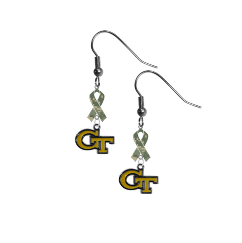 Georgia Tech Yellow Jackets Salute to Service Camouflage Camo Ribbon Dangle Earrings
