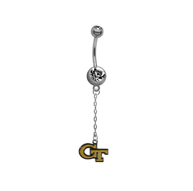 Georgia Tech Yellow Jackets Dangle Chain Belly Button Navel Ring
