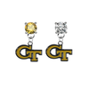 Georgia Tech Yellow Jackets GOLD & CLEAR Swarovski Crystal Stud Rhinestone Earrings