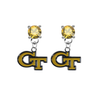 Georgia Tech Yellow Jackets GOLD Swarovski Crystal Stud Rhinestone Earrings