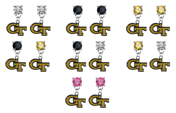 Georgia Tech Yellow Jackets NCAA Swarovski Crystal Stud Rhinestone Earrings