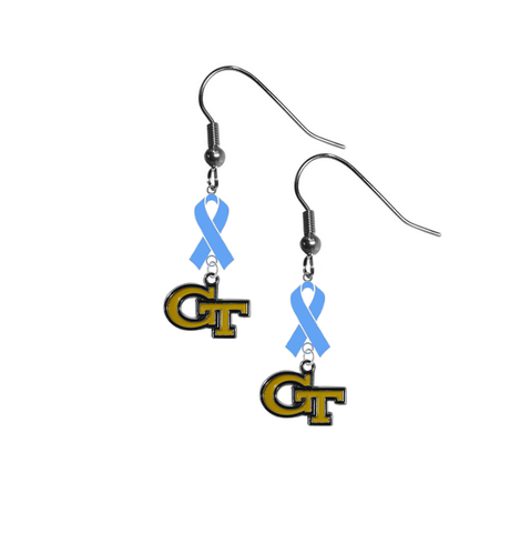 Georgia Tech Yellow Jackets Prostate Cancer Awareness Light Blue Ribbon Dangle Earrings