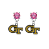 Georgia Tech Yellow Jackets PINK Swarovski Crystal Stud Rhinestone Earrings