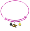 Georgia Tech Yellow Jackets NCAA Pink Expandable Wire Bangle Charm Bracelet