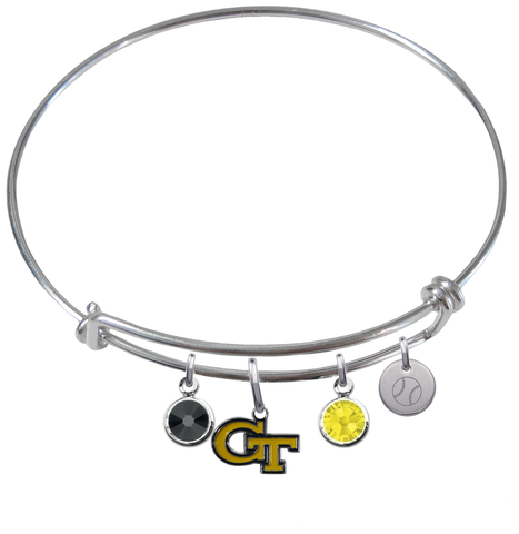 Georgia Tech Yellow Jackets Baseball Expandable Wire Bangle Charm Bracelet