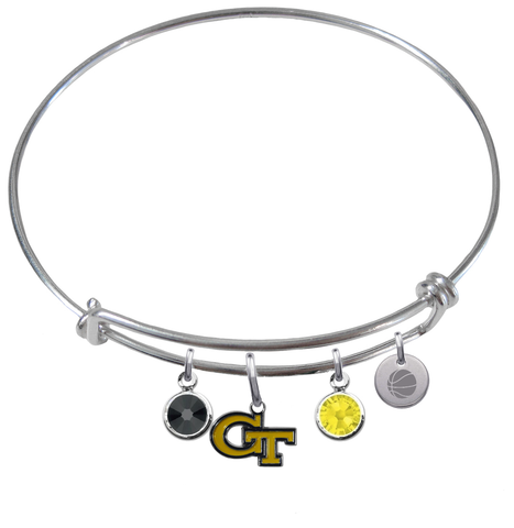 Georgia Tech Yellow Jackets Basketball Expandable Wire Bangle Charm Bracelet