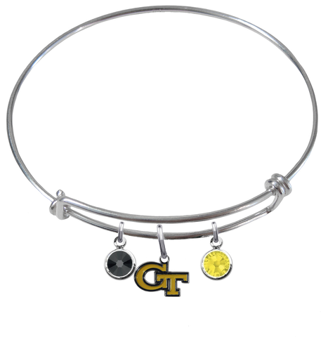 Georgia Tech Yellow Jackets NCAA Expandable Wire Bangle Charm Bracelet