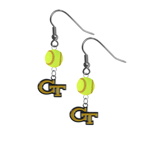 Georgia Tech Yellow Jackets NCAA Fastpitch Softball Dangle Earrings