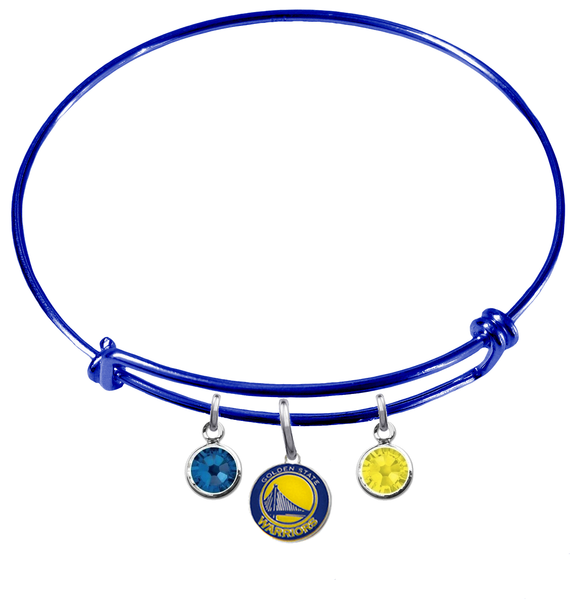 Golden State Warriors BLUE Color Edition Expandable Wire Bangle Charm Bracelet