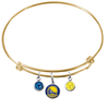 Golden State Warriors GOLD Color Edition Expandable Wire Bangle Charm Bracelet