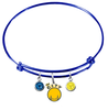 Golden State Warriors Style 2 BLUE Color Edition Expandable Wire Bangle Charm Bracelet