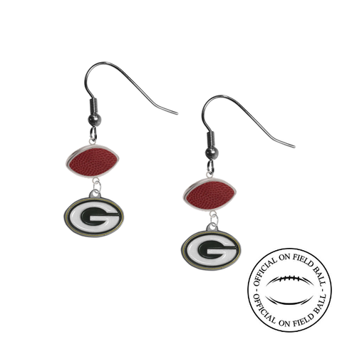 Green Bay Packers NFL Authentic Official On Field Leather Football Dangle Earrings