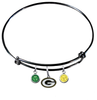 Green Bay Packers Black NFL Expandable Wire Bangle Charm Bracelet