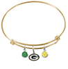 Green Bay Packers Gold NFL Expandable Wire Bangle Charm Bracelet