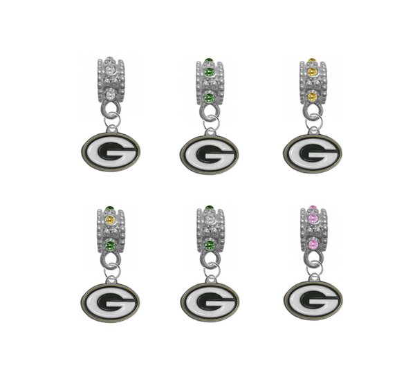 Green Bay Packers NFL Football Crystal Rhinestone European Bracelet Charm