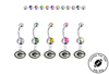 Green Bay Packers Silver Swarovski Belly Button Navel Ring - Customize Gem Colors