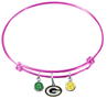 Green Bay Packers Pink NFL Expandable Wire Bangle Charm Bracelet
