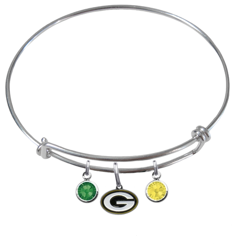 Green Bay Packers NFL Expandable Wire Bangle Charm Bracelet