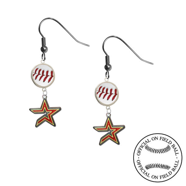 Houston Astros MLB Authentic Rawlings On Field Leather Baseball Dangle Earrings