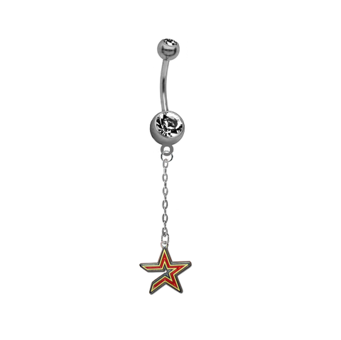 Houston Astros Dangle Chain Belly Button Navel Ring