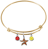 Houston Astros Gold MLB Expandable Wire Bangle Charm Bracelet