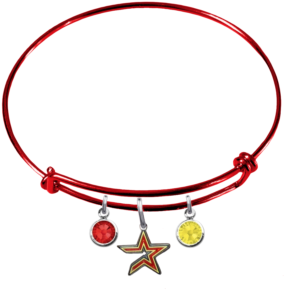 Houston Astros Red MLB Expandable Wire Bangle Charm Bracelet