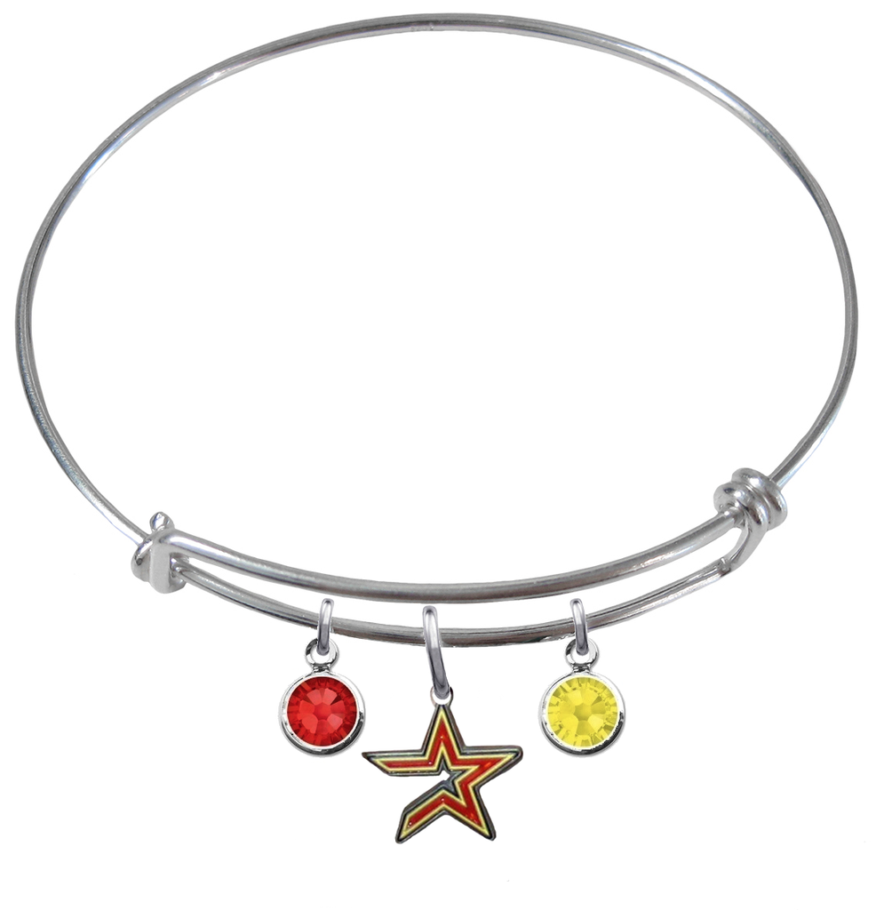 Houston Astros MLB Expandable Wire Bangle Charm Bracelet