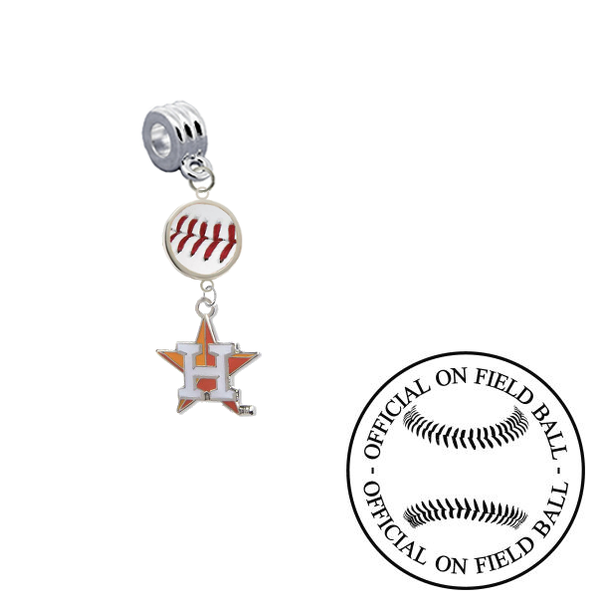 Houston Astros 2 On Field Baseball Universal European Bracelet Charm (Pandora Compatible)