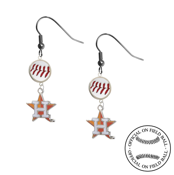 Houston Astros Style 2 MLB Authentic Rawlings On Field Leather Baseball Dangle Earrings