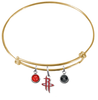 Houston Rockets GOLD Color Edition Expandable Wire Bangle Charm Bracelet
