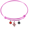 Houston Rockets PINK Color Edition Expandable Wire Bangle Charm Bracelet