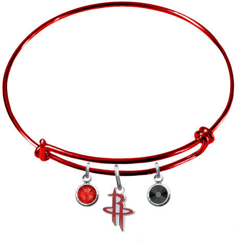 Houston Rockets RED Color Edition Expandable Wire Bangle Charm Bracelet