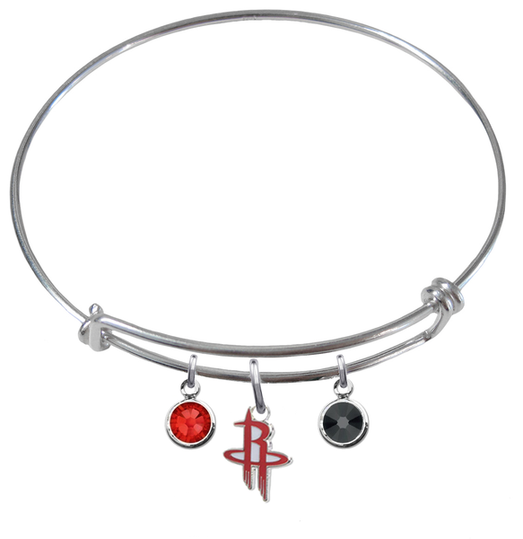 Houston Rockets NBA Expandable Wire Bangle Charm Bracelet