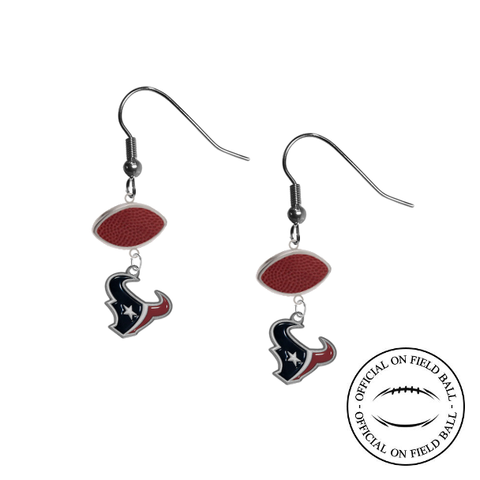 Houston Texans NFL Authentic Official On Field Leather Football Dangle Earrings