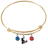 Houston Texans Gold NFL Expandable Wire Bangle Charm Bracelet
