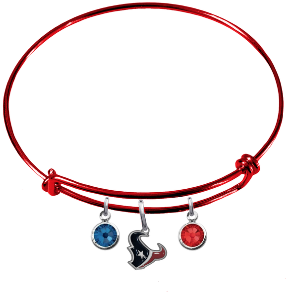 Houston Texans Red NFL Expandable Wire Bangle Charm Bracelet