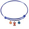 Illinois Fighting Illini NCAA Blue Expandable Wire Bangle Charm Bracelet