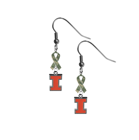 Illinois Fighting Illini Salute to Service Camouflage Camo Ribbon Dangle Earrings