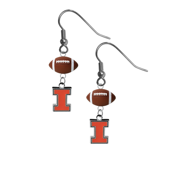 Illinois Fighting Illini NCAA Football Dangle Earrings