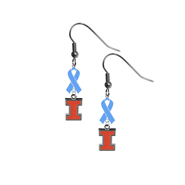 Illinois Fighting Illini Prostate Cancer Awareness Light Blue Ribbon Dangle Earrings