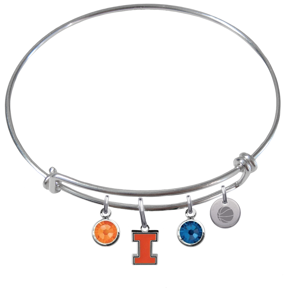 Illinois Fighting Illini Basketball Expandable Wire Bangle Charm Bracelet