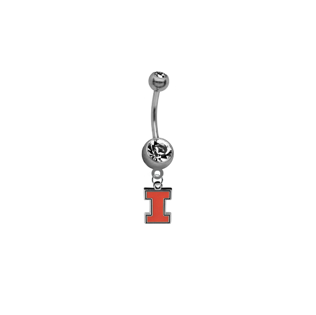 Illinois Fighting Illini SILVER College Belly Button Navel Ring