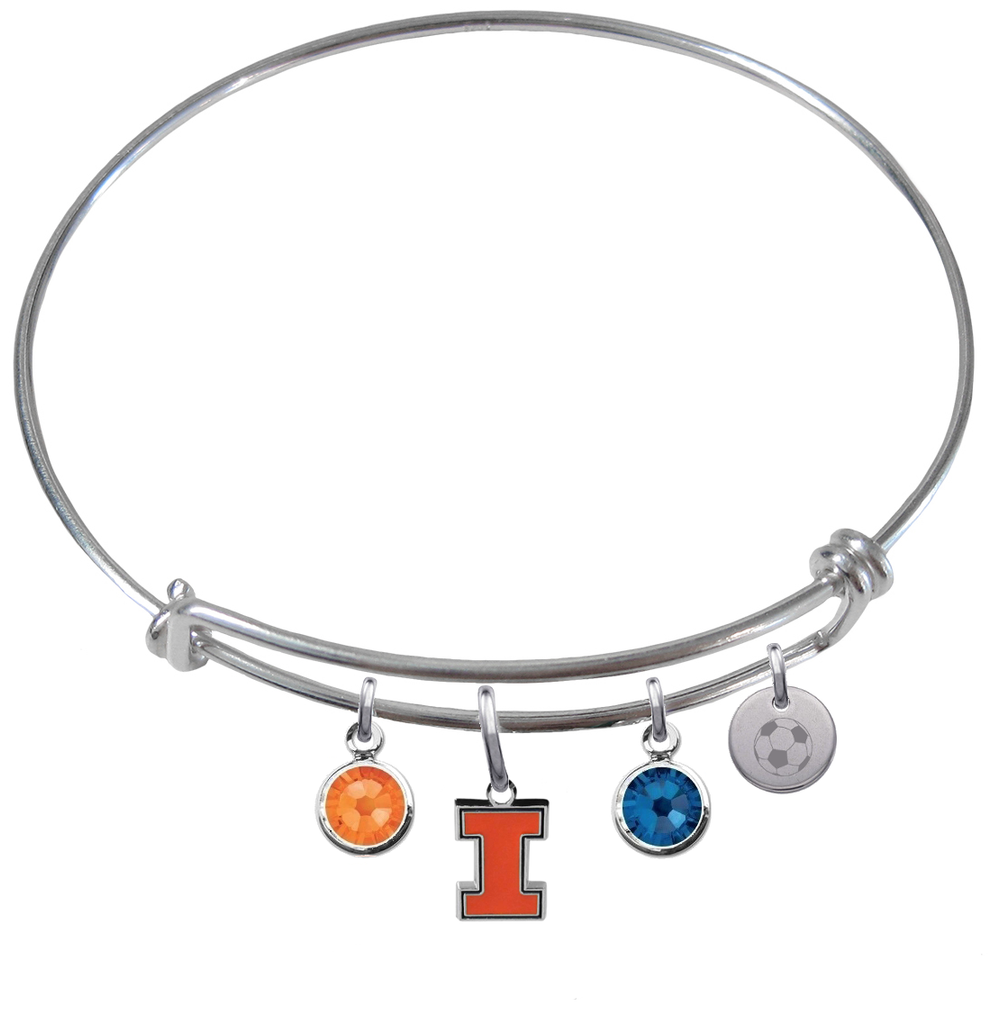 Illinois Fighting Illini Soccer Expandable Wire Bangle Charm Bracelet