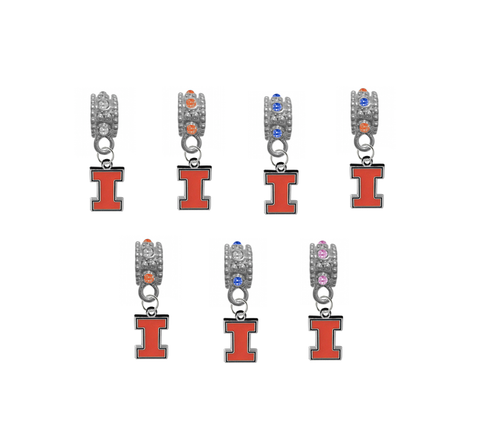 Illinois Fighting Illini NCAA Crystal Rhinestone European Bracelet Charm