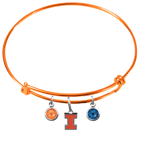 Illinois Fighting Illini NCAA Orange Expandable Wire Bangle Charm Bracelet