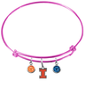 Illinois Fighting Illini NCAA Pink Expandable Wire Bangle Charm Bracelet